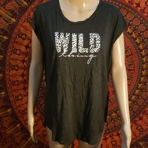 Betsey Johnson Wild Thing animal print tee Large